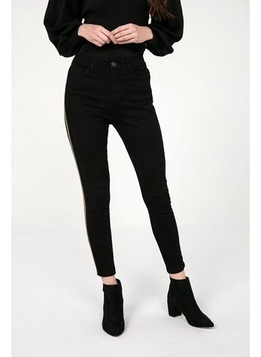 Tiffany&Tomato Yüksek Bel Şeritli Skinny Jean Pantolon Siyah